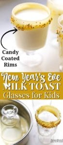 New Year's Eve milk toast glasses for kids.