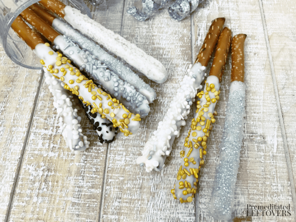 New Year's white chocolate coated pretzel rods
