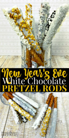 new years eve white chocolate covered pretzel rods