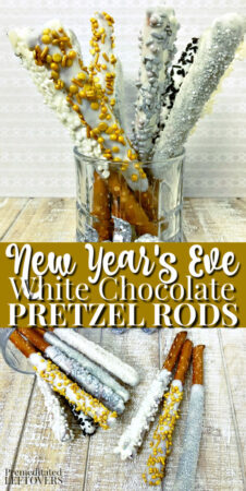 new years white chocolate covered pretzel rods