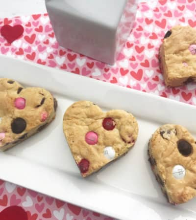 Valentine's Day chocolate chip cookie recipe plated