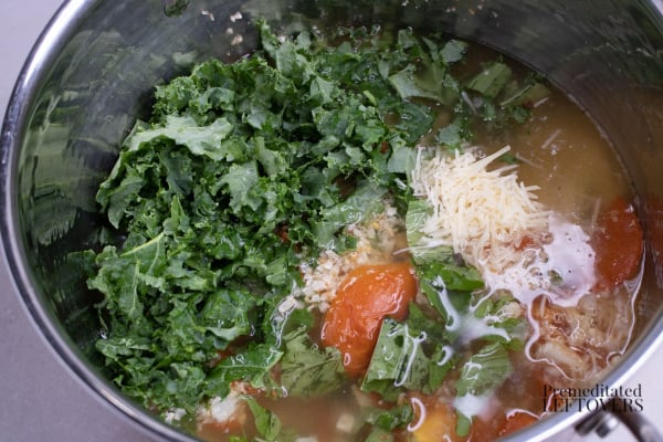 Roasted Riced Cauliflower and Tomato Soup with Kale Recipe in pan