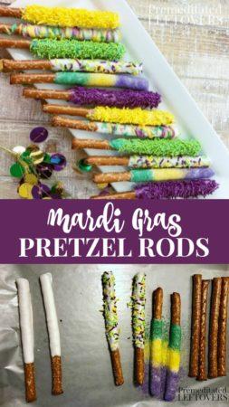 Mardi Gras Pretzel Rods recipe