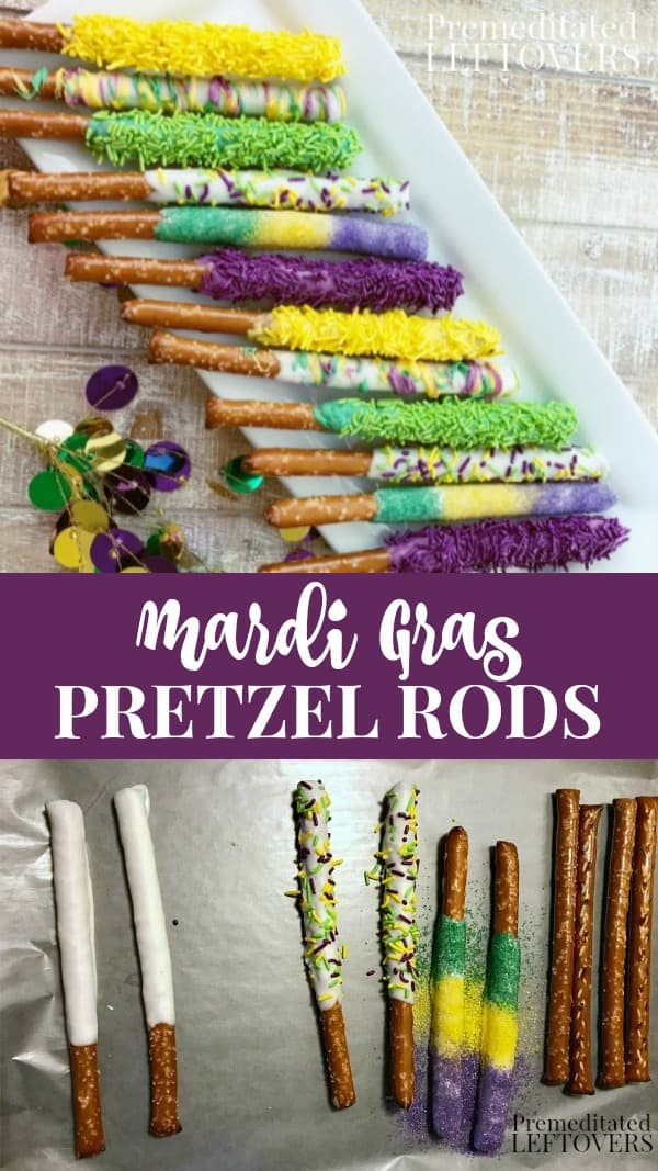 Mardi Gras Pretzel Rods recipe