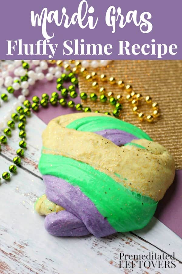 Purple, Green, and Gold, Mardi Gras Fluffy Slime Recipe