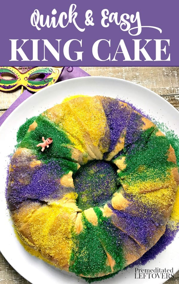 Quick and Easy King Cake Recipe made with packaged Crescent Rolls
