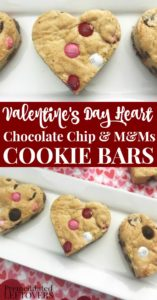 Valentine's Day Heart Chocolate Chip and M&Ms Cookie Bars Recipe