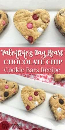 Valentine's Day Heart M & Ms and Chocolate Chip Cookie Bars Recipe