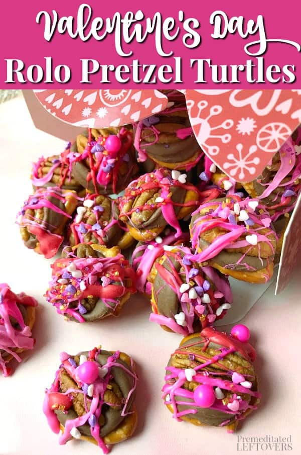 These quick and easy Valentine's Day Rolo Pretzel Turtles make a fun treat for Valentine's Day party. Place them in a mason jar with a gift tag or in a Valentine box for a lovely and delicious food gift!