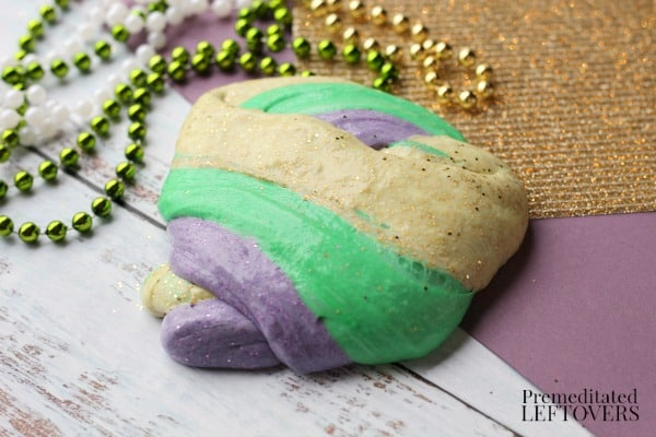 Mardi Gras fluffy slime recipe
