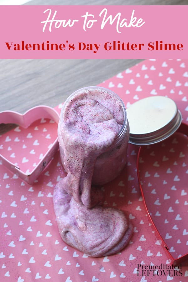 valentines day glitter slime in jar