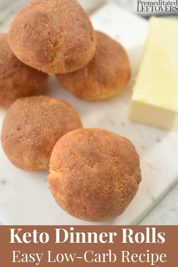 Garlic Dusted Keto Dinner Rolls on a serving tray with butter