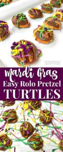 This Mardi Gras Rolo pretzel turtles recipe is a quick and easy treat for Fat Tuesday!