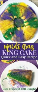 Quick and easy Mardi Gras king cake recipe using packaged crescent roll dough.