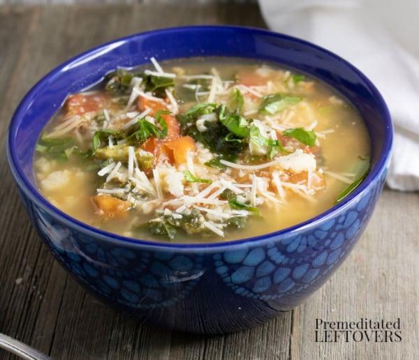 roasted riced cauliflower and kale soup