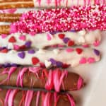 valentines pretzel rods dipped in chocolate