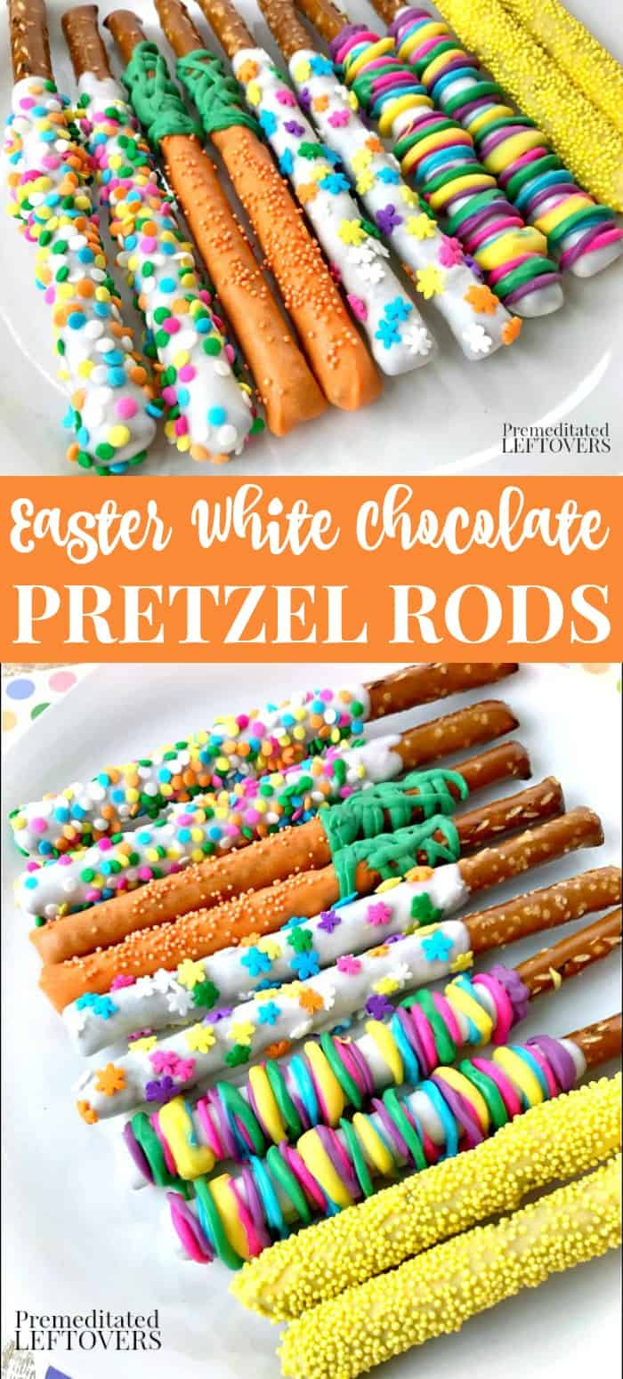 Easter White Chocolate Covered Pretzel Rods recipe - a fun no-bake Easter dessert