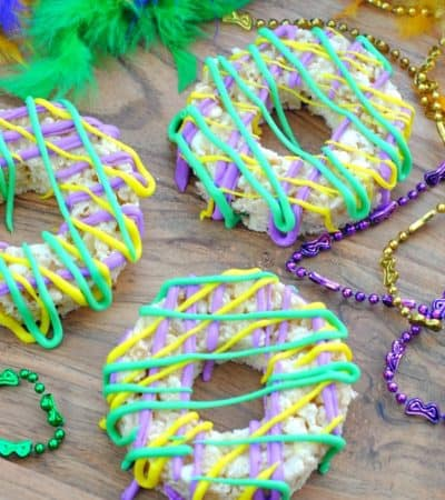 Mardi Gras Rice Krispie treats with beads
