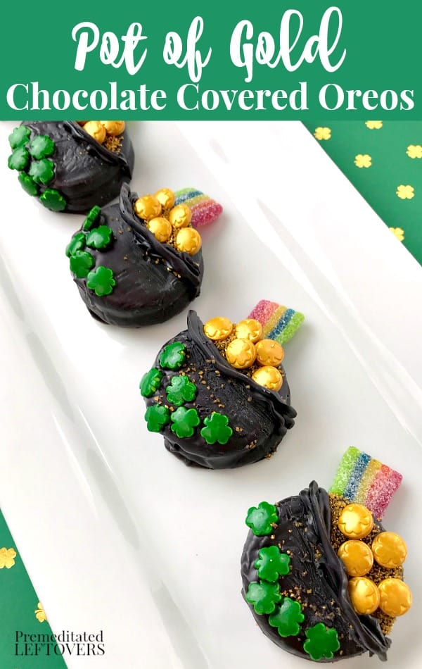 Pot of Gold Chocolate Covered Oreos - A fun treat for St. Patrick's Day!