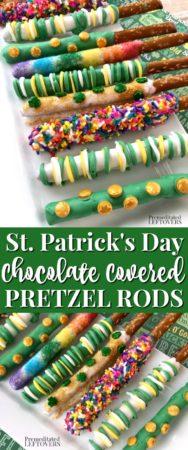 St. Patrick's Day Chocolate Covered Pretzel Rods Recipe