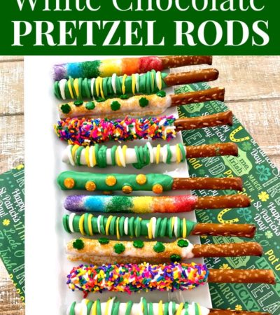 St. Patrick's Day White Chocolate Covered Pretzel Rods Recipe on a white platter