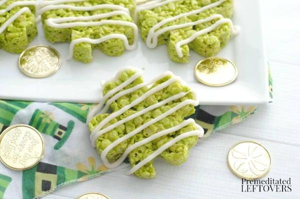 green shamrock rice krispie treats with coins