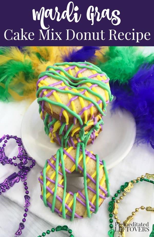 Mardi Gras King Cake donuts on plate.