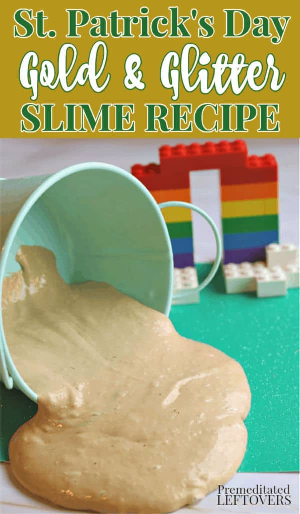 st patricks day golden slime recipe with gold glitter spilling out of a bucket