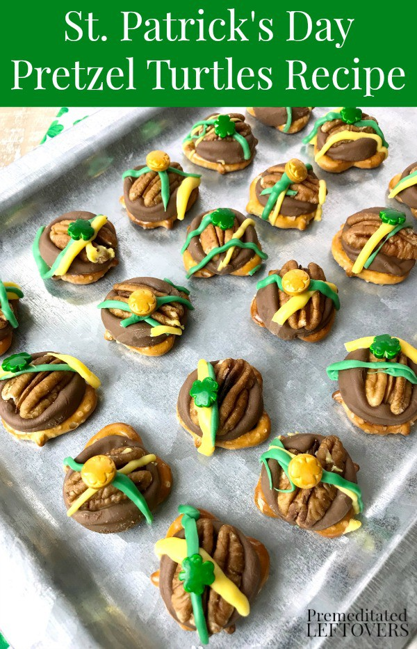To make this St. Patrick's Day Rolo Pretzel Turtles Recipe, melt Rolos on top of pretzels, top with pecans, drizzled candy melts and shamrock sprinkles.