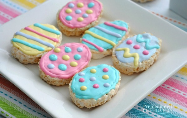 Use a cookie cutter to make these cute Easter Egg shaped Rice Krispie Treats.