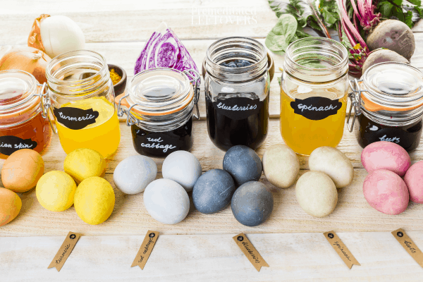 Natural ways to dye Easter Eggs using vegetables, fruits, tea, and spices.