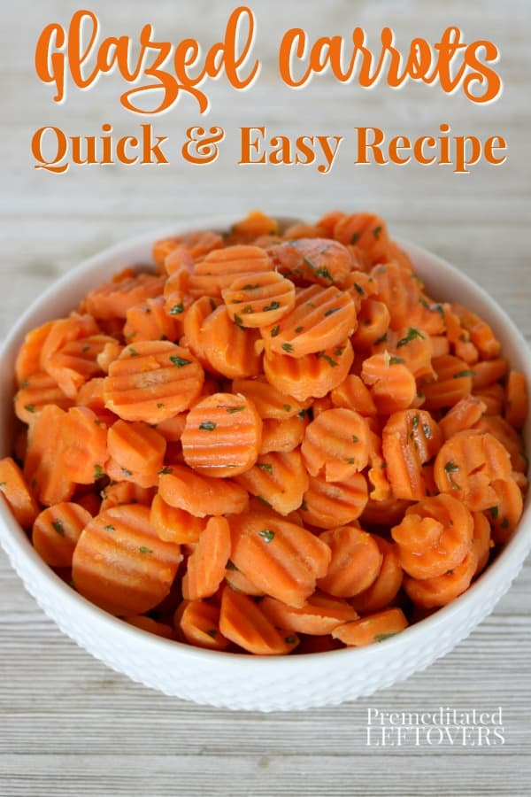 Glazed carrots recipe tossed with parsley in a white bowl.
