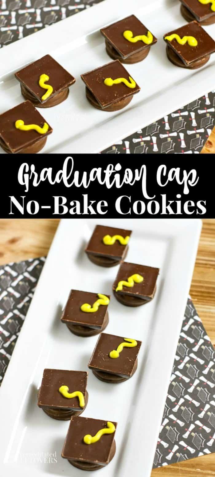 Graduation Cap Cookies Recipe on a white plate on graduation desserts table.