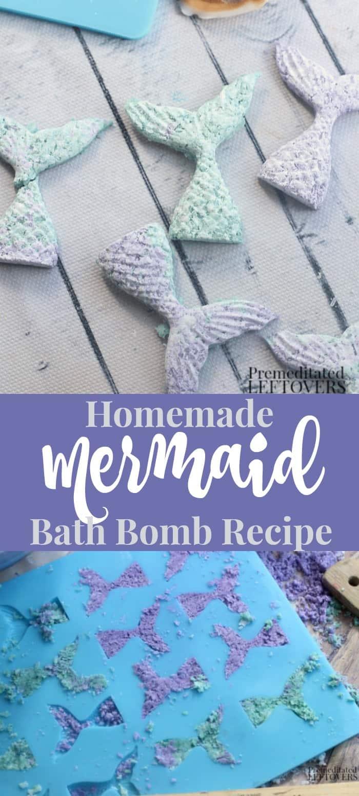 Homemade mermaid bath bomb recipe with step by step tutorial.