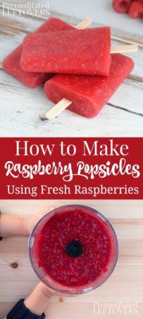 How to make homemade raspberry popsicles using fresh raspberries.
