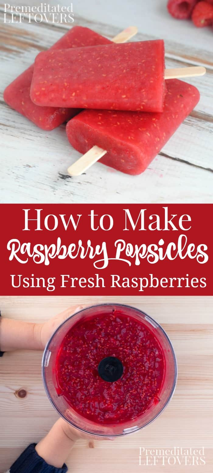 How to make homemade raspberry popsicles using fresh raspberries.