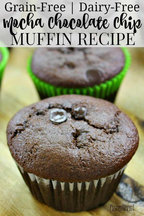 Grain-free mocha chocolate chips muffins cooling on the counter.