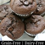 Gluten-free mocha chocolate chip muffins in a lined basket.