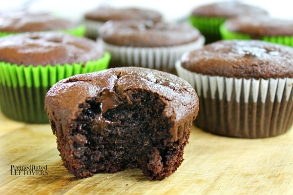 grain-free mocha chocolate muffins with a bite missing