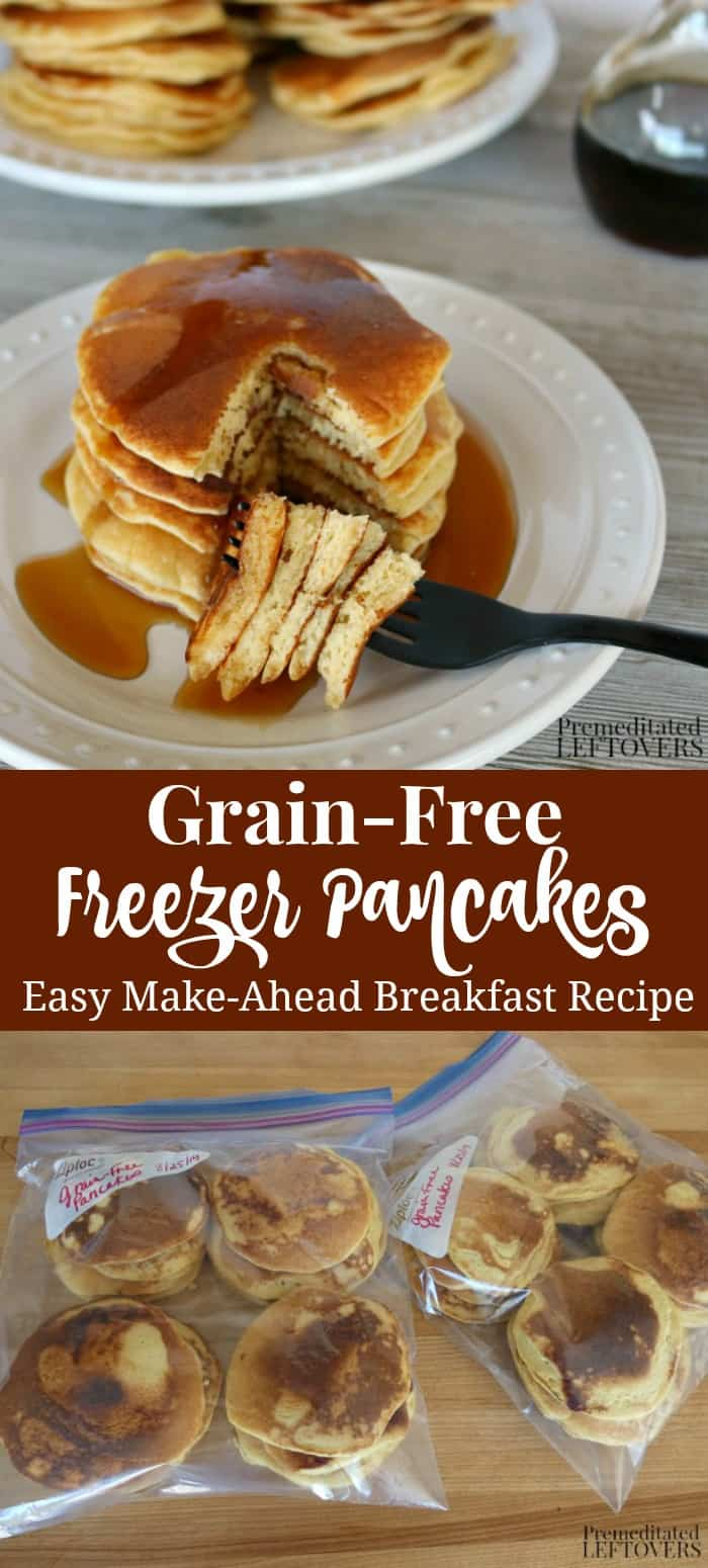 Delicious grain-free freezer pancakes - an easy make-ahead gluten-free breakfast recipe.