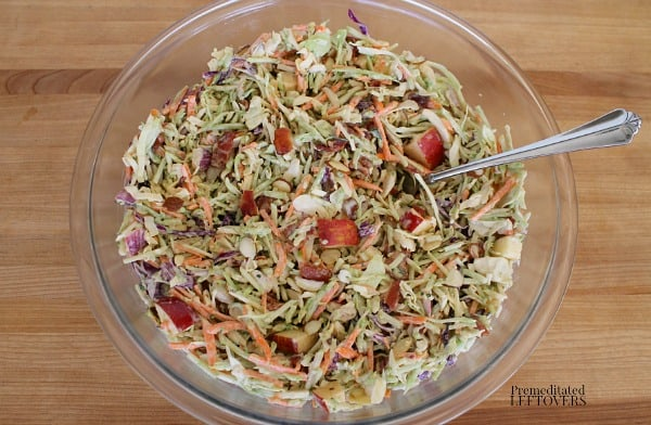 Loaded Coleslaw recipe with bacon and apples.