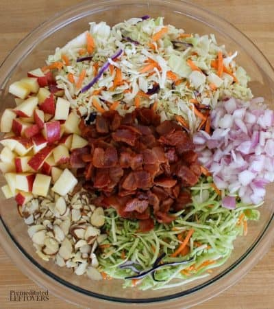 Loaded coleslaw recipe with bacon, apple, and almond slivers