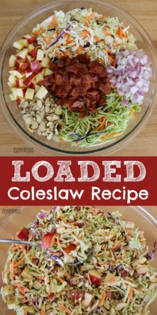 Quick and easy loaded coleslaw recipe.