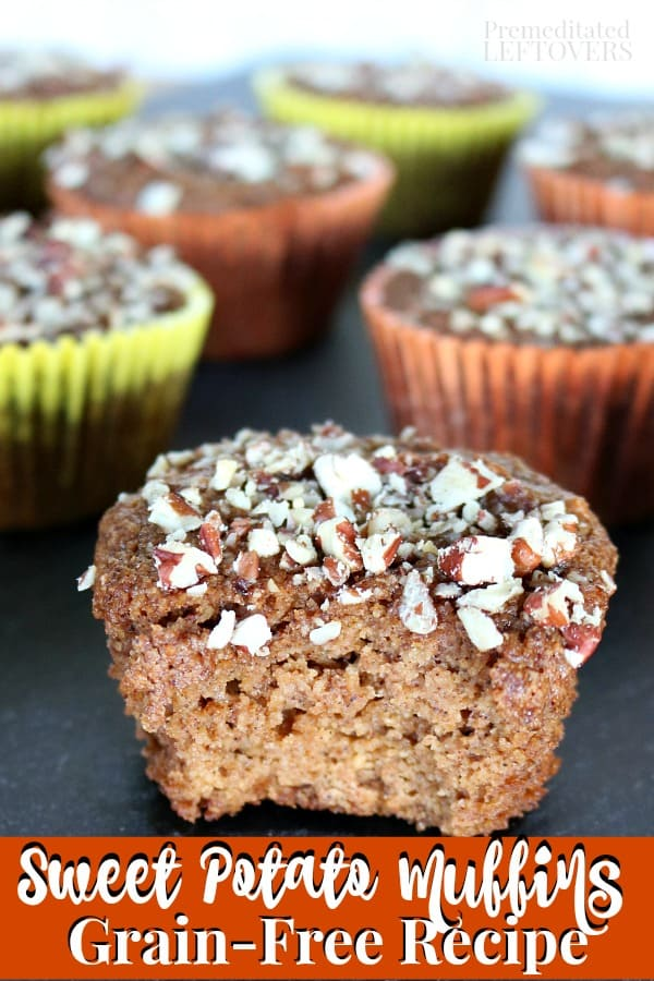 This Grain-Free Sweet Potato Muffins recipe is also gluten-free and dairy-free. This muffin recipe uses almond flour. The muffins are flavored with Chai Spices and topped with chopped pecans. Makes a great make-ahead breakfast recipe.