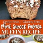Easy grain-free chai spiced sweet potato muffins recipe.