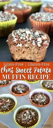 Easy grain-free chai spiced sweet potato muffins recipe.