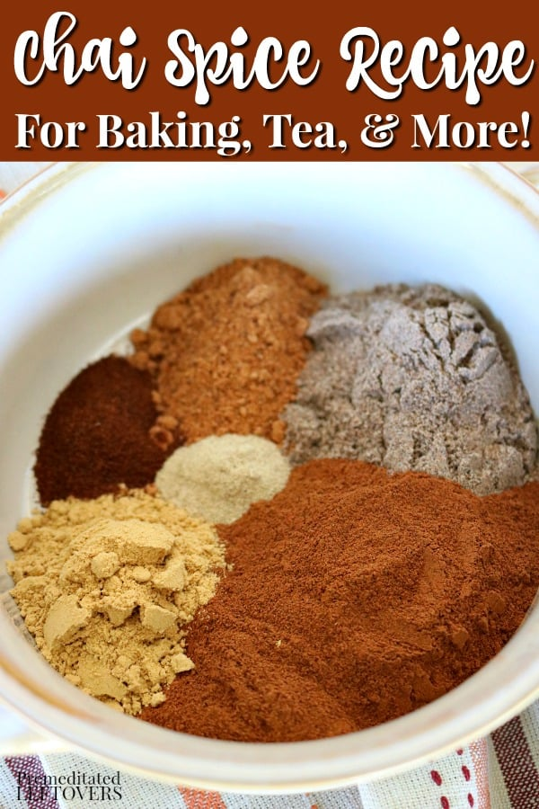 This chai spice recipe is made with the spices found in masala chai: cinnamon, cardamom, ginger, nutmeg, cloves, and white pepper. Tips for using it baking, coffee, tea, smoothies, and more.