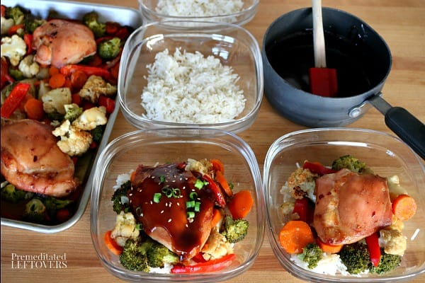 Meal Prep Mongolian Chicken Thighs and Vegetables using a sheet pan chicken recipe.
