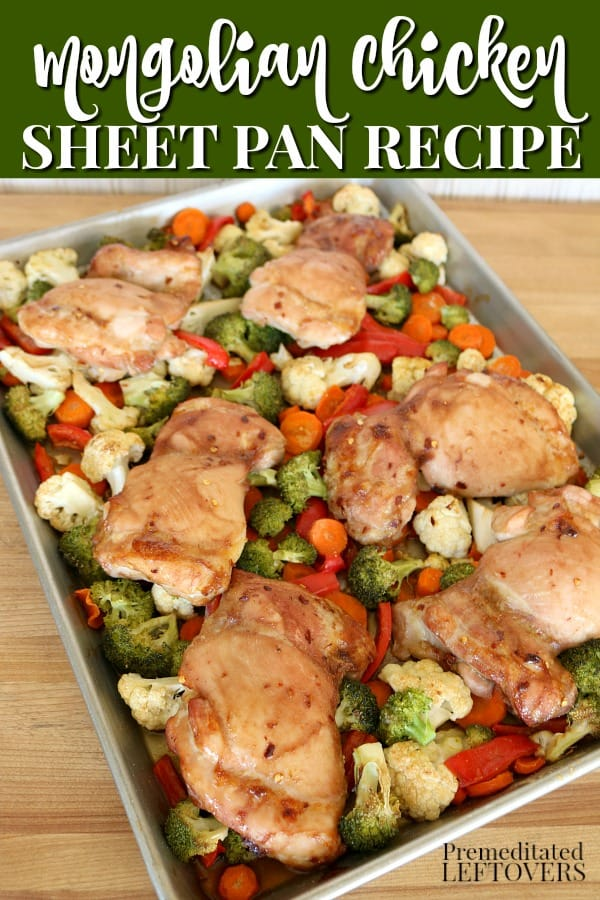 Sheet pan Mongolian chicken dinner recipe.