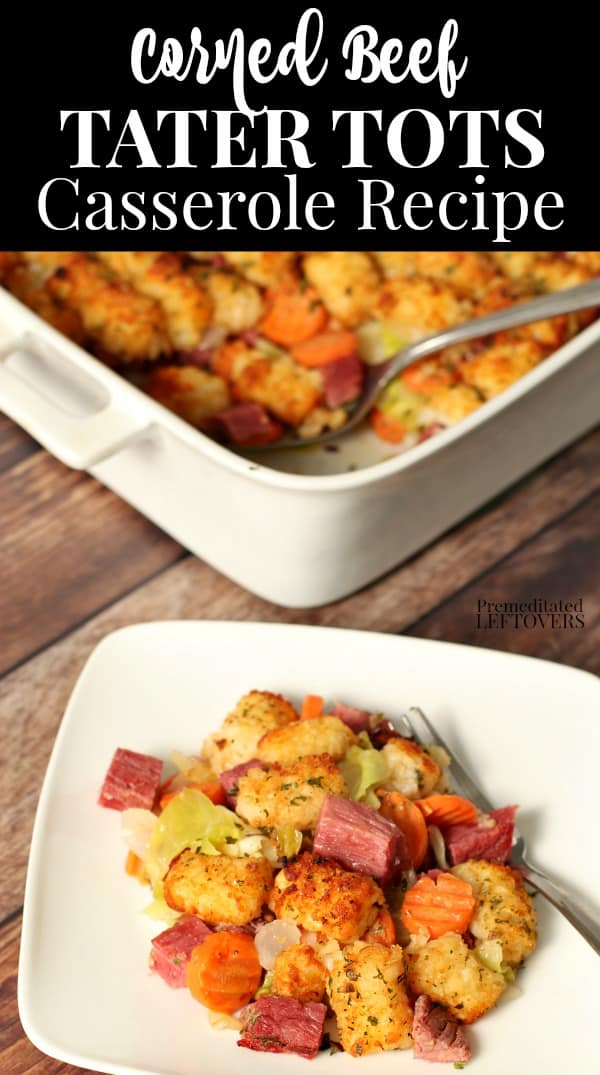 A serving of the corned beef and tater tot casserole recipe.
